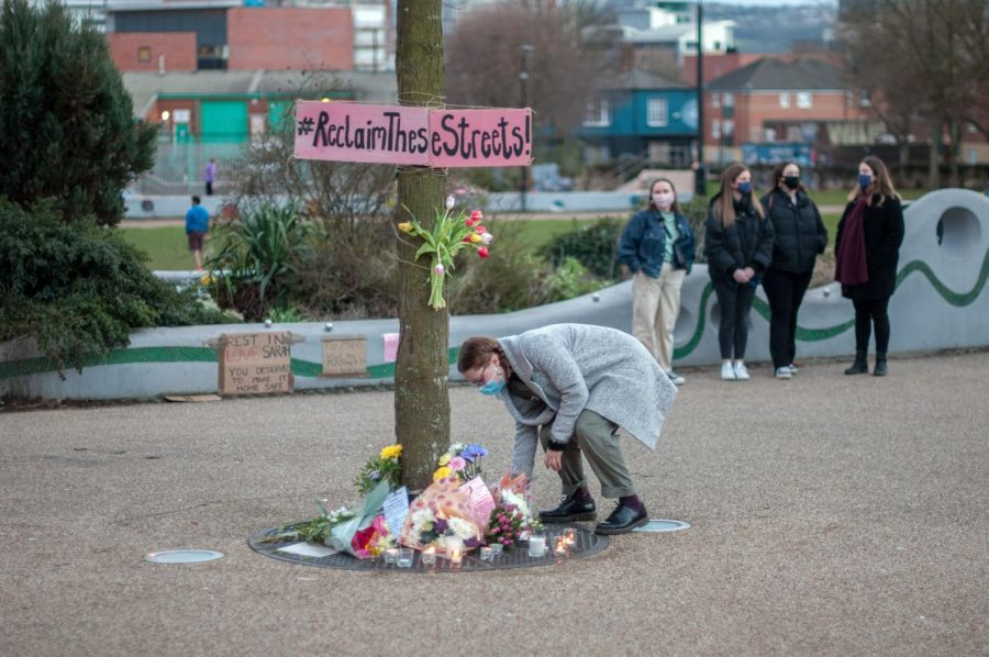 flowers laid at a memorial to Sarah Everard in Sheffield