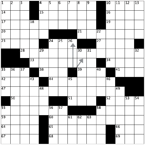blank crossword grid with a clock shape in the middle