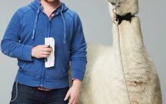 Craig Calefate poses with a llama on set