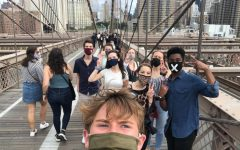 for an article about first-years on campus, a selfie of a group of students on the brooklyn bridge