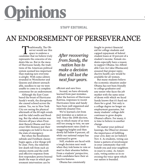 "A staff editorial titled ""An Endorsement of Perseverance"""