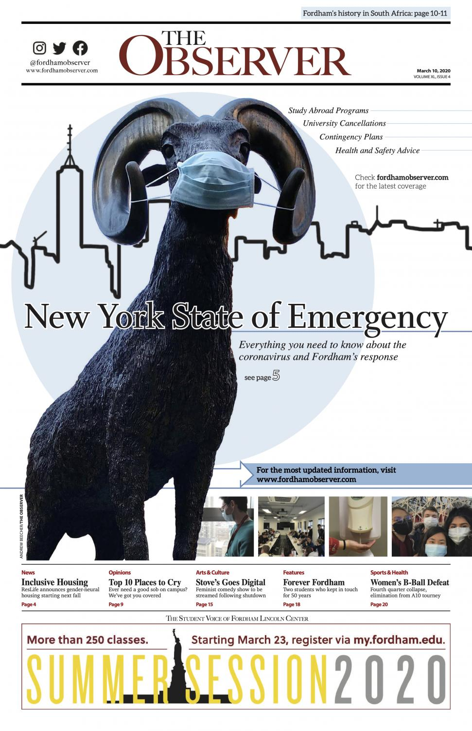 "The front page of last copy of The Observer to go to print at the start of the pandemic, with the headline ""New York State of Emergency"" and the ram statue wearing a mask"