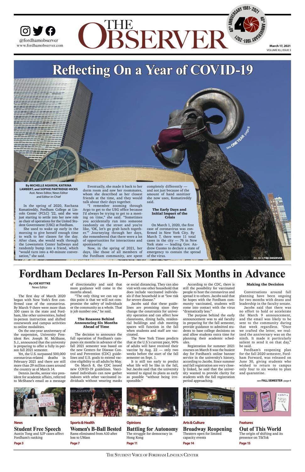 "the front page of The Observer, again with the ram wearing a mask, with the headline ""Reflecting On a Year of COVID-19"""