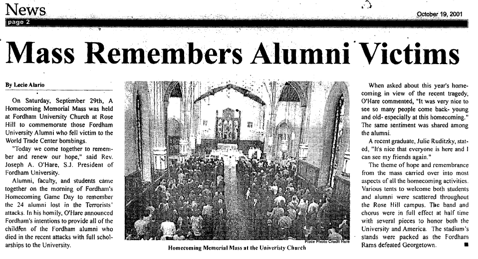 "2001 article with the headline ""Mass Remembers Alumni Victims"""