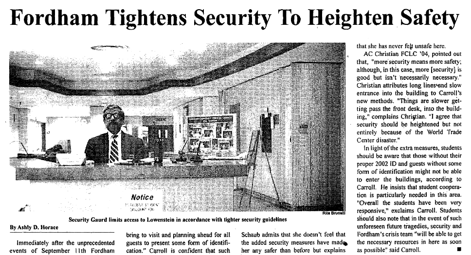 "2001 article with the headline ""Fordham Tightens Security To Heighten Safety"""