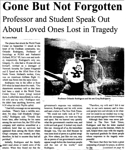 "a 2001 article titled ""Gone But Not Forgotten: Professor and Student Speak Out About Loved One Lost in Tragedy"""