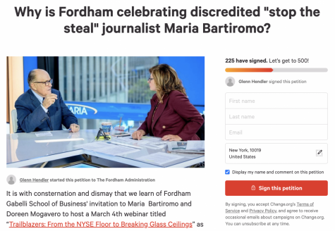 """a screenshot of the petition reading """"Why is Fordham celebrating discredited 'stop the steal' journalist Maria Bartiromo?"""""""