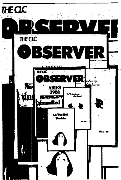 a graphic of several issues of The CLC Observer stacked together