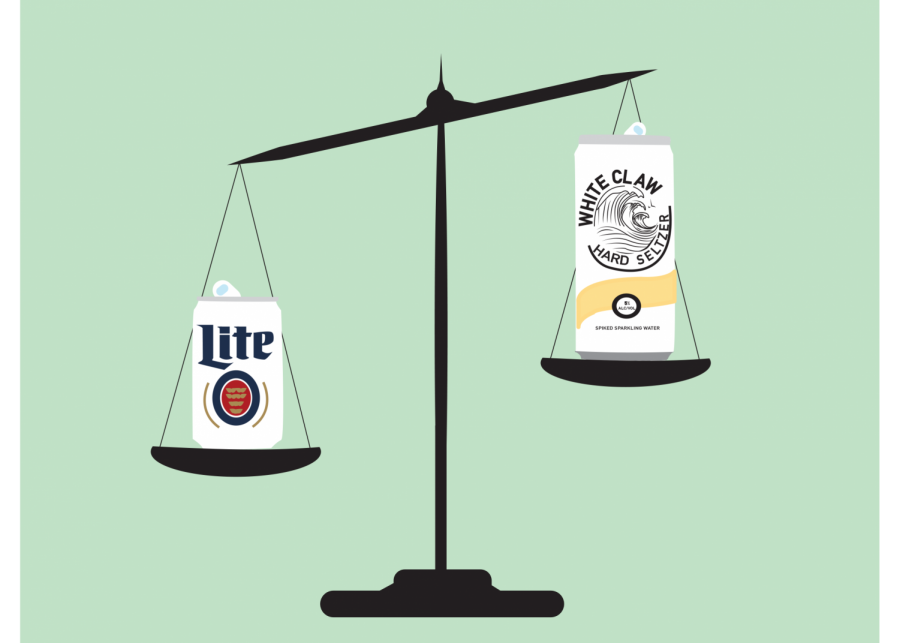 illustration of a scale with hard seltzer on one side and beer on the other