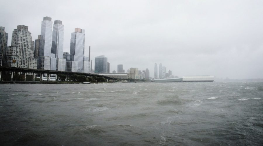 waves lash at the shores of New York City during Hurricane Sandy