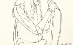 graphic illustration of Courtney Love, a possible woman serial killer, singing into a microphone