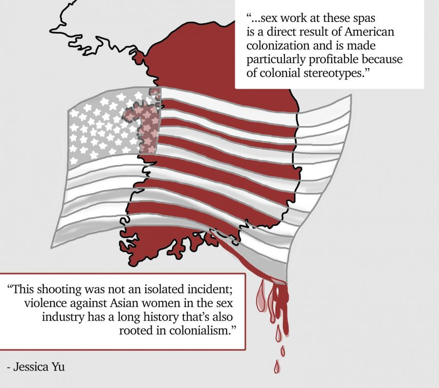 graphic illustration of South Korea in red with the American flag imposed on top dripping with blood