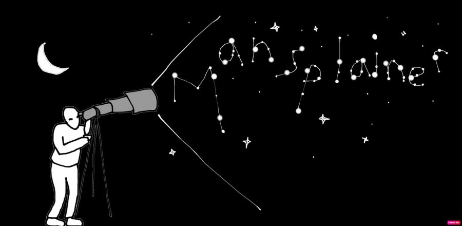 for an article about men and zodiac signs, graphic of a person looking into a telescope at stars, which spell out