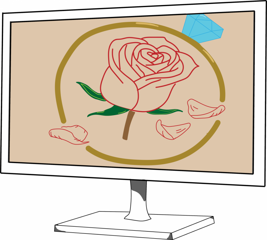 graphic illustration of a rose on a television screen
