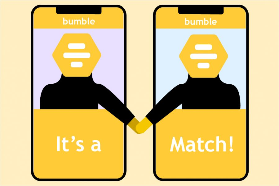 graphic illustration of getting a match on a dating app