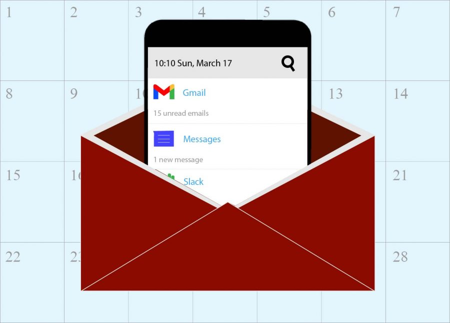 for an article about march 2020 in emails, a graphic of a phone coming out of an envelope with a calendar in the background