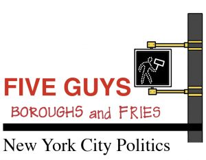 "graphic for leo bernabei's column of a street sign and red text that says ""five guys boroughs and fries new york city politics"""