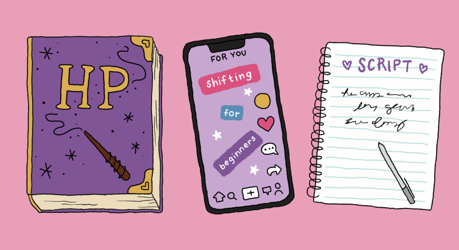 graphic illustration of a Harry Potter book, a phone on TikTok, and a script for shifting