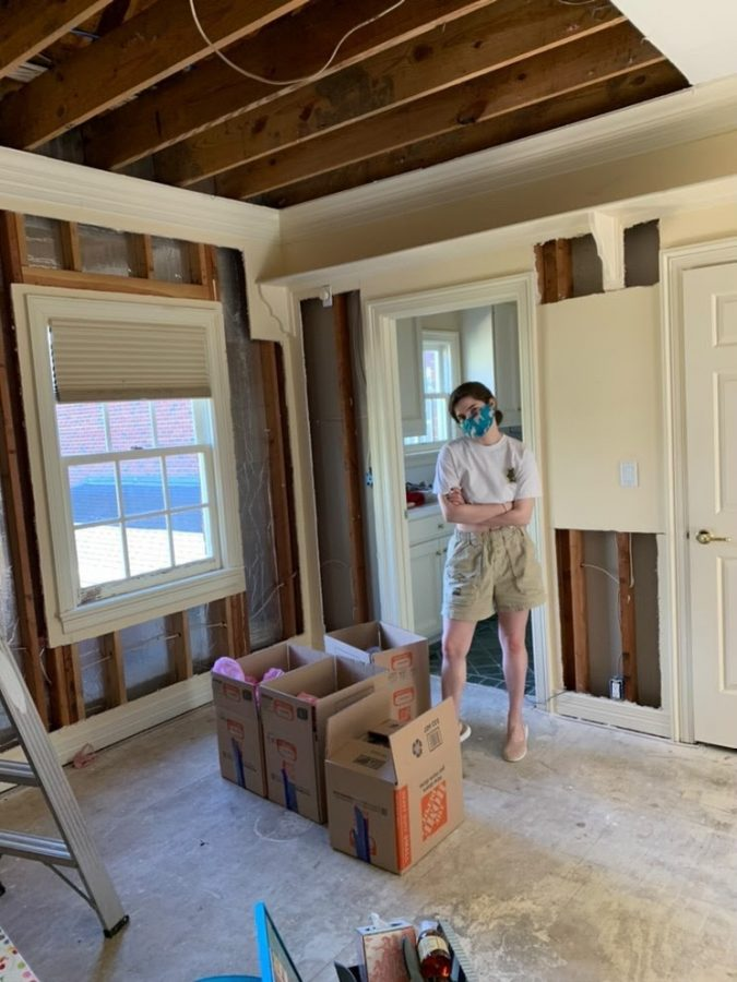 Cathleen Freedman in her home in Texas where the walls and ceiling are being repaired
