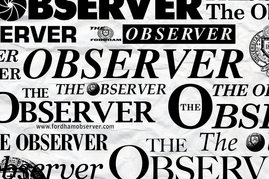 multiple versions of the observer nameplate on a paper background