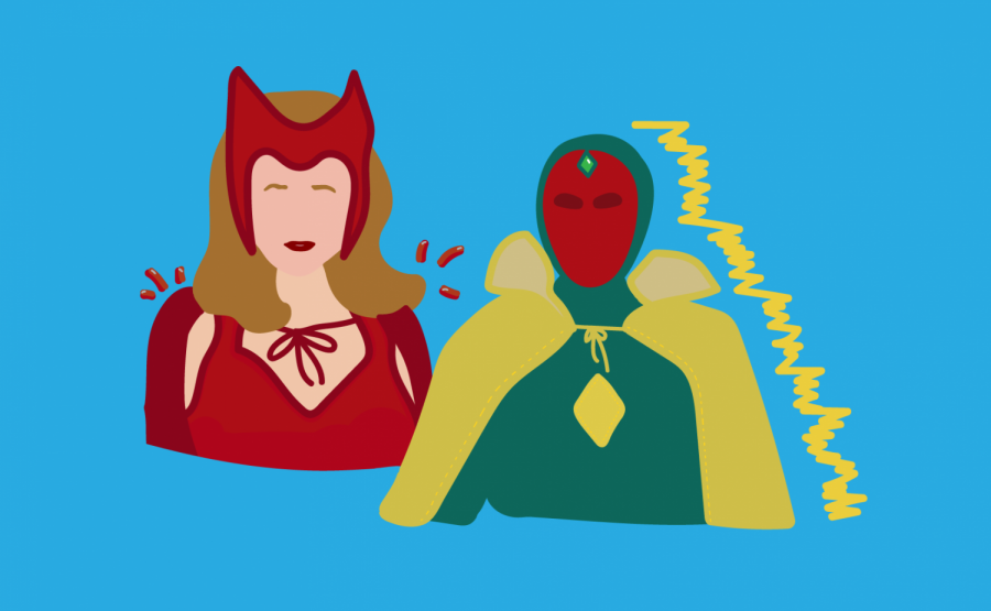 a graphic illustration of Wanda and Vision, the main characters of WandaVision
