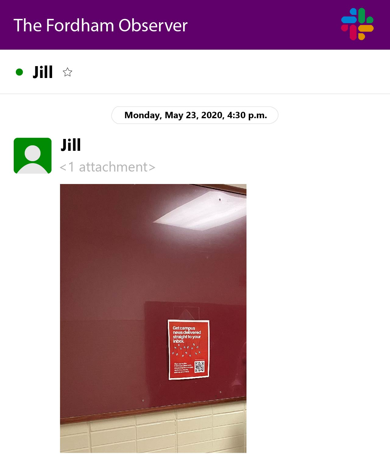 graphic of a slack workspace. jill has sent owen a photo of a newsletter flyer on a maroon bulletin board
