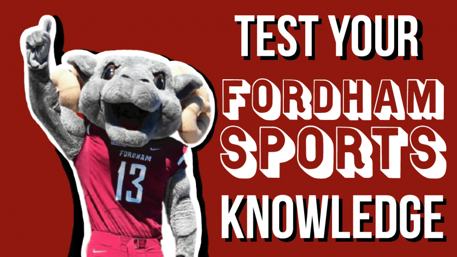 graphic for the sports quiz of the fordham ram mascot with the headline text