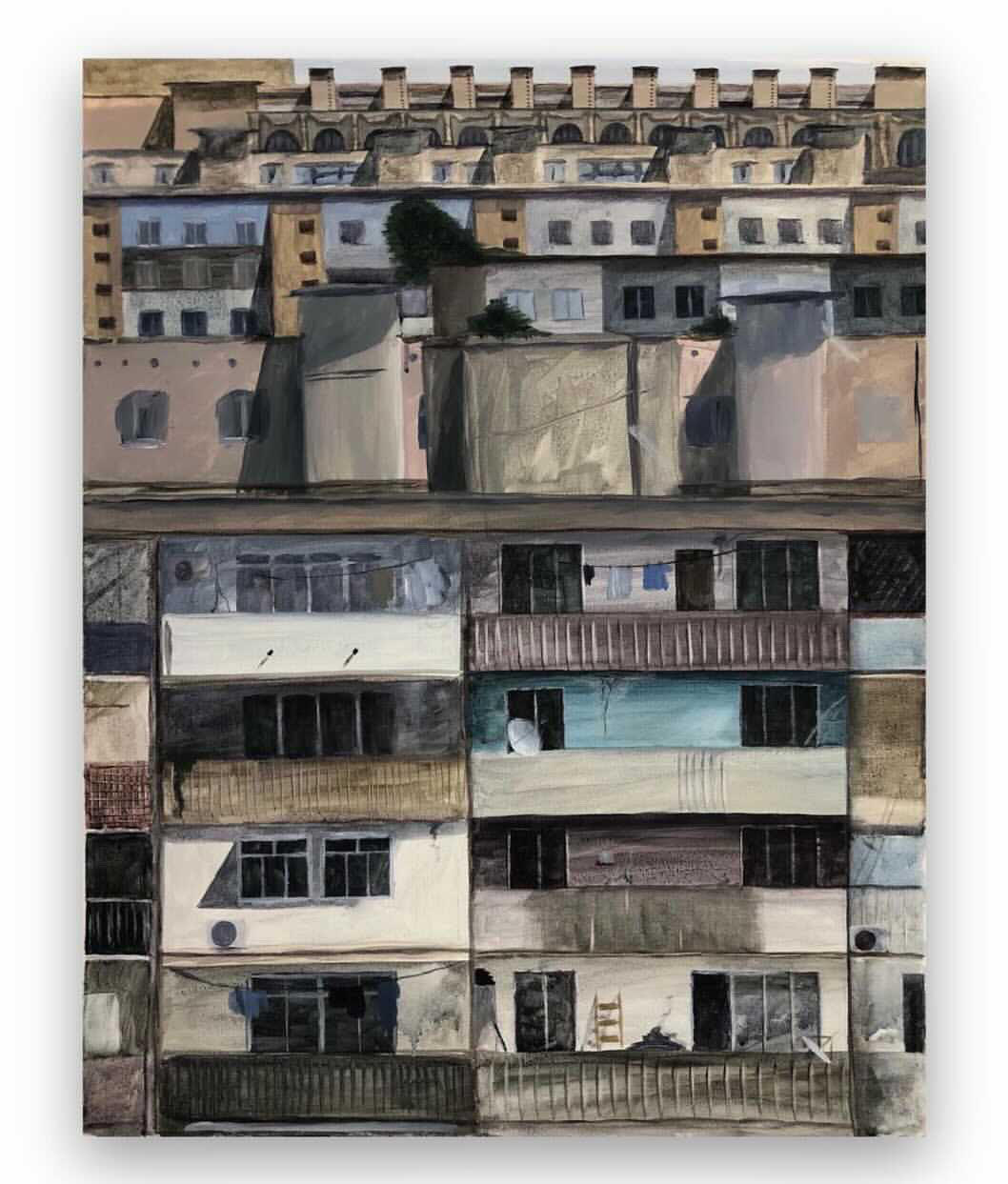a painting of tightly grouped houses