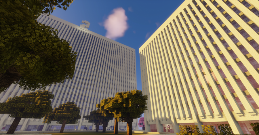Lowenstein II building on Minecraft, a realistic sandstone structure like the real Lowenstein Center