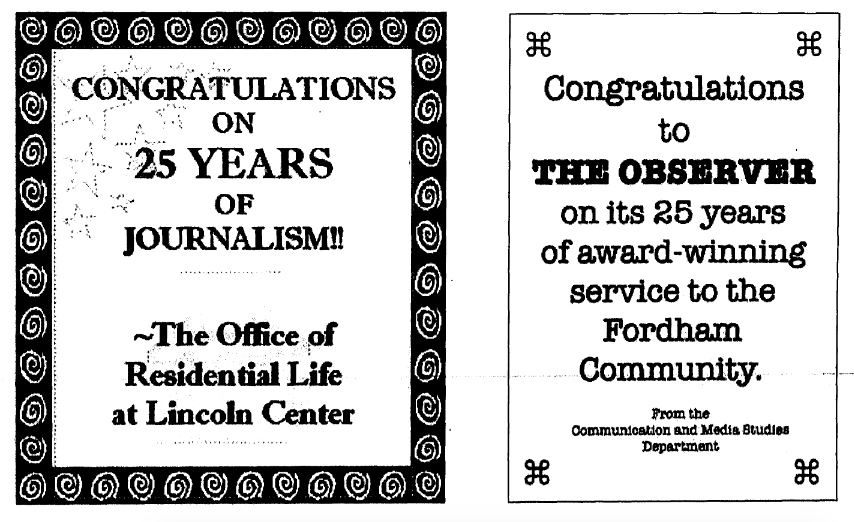for the observer history timeline, two ads congratulating the observer on its 25th anniversary in 2006