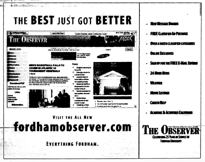 """ad for the observer's new website from 2006 that reads """"the best just got better, visit us at fordhamobserver.com"""""""