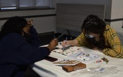at some campus events, students paint on canvas