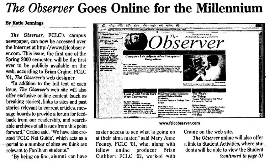 for a timeline of the observer