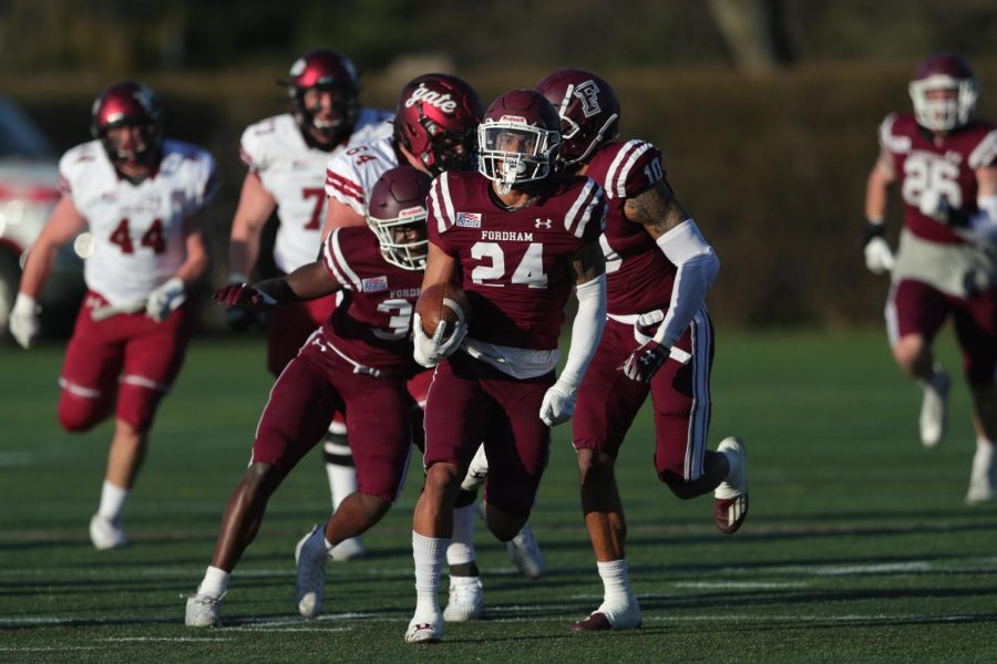 Fordham football team faces off against Colgatez University Raiders.