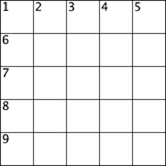 blank crossword grid for the not an alpaca crossword
