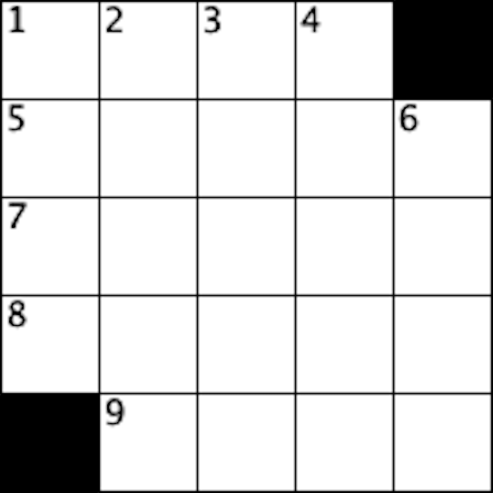 five by five crossword grid