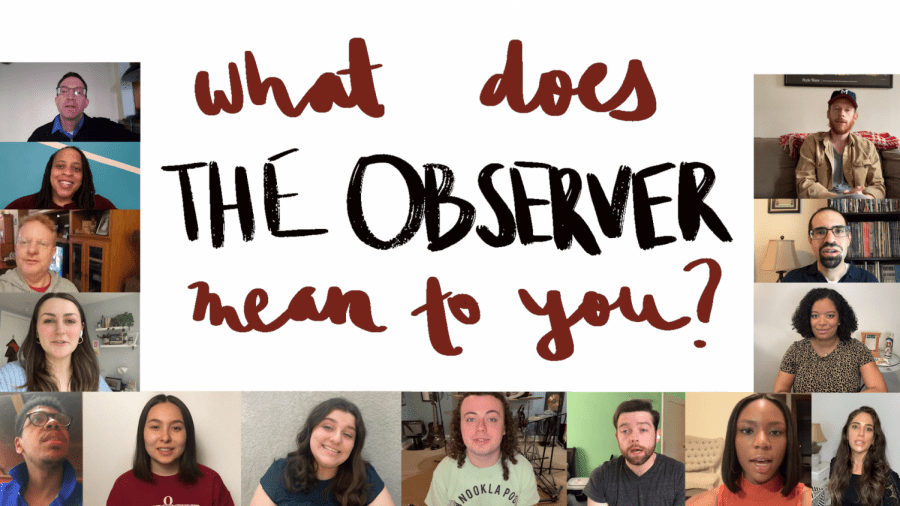 "handwritten text that says ""what does the observer mean to you?"" on a white box. surrounding it are 14 screenshots of the faces of observer staff members from past and present"