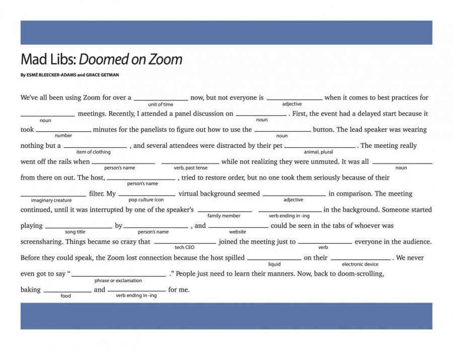 blank mad libs puzzle with blue border