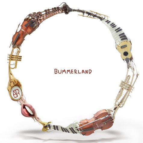 """cover art for AJR's OK Orchestra single """"Bummerland."""" Cartoon instruments meld into each other in a circle"""