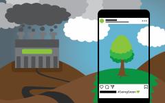graphic of greenwashing with polluting factory in the back and instagram photo of a tree in the foreground