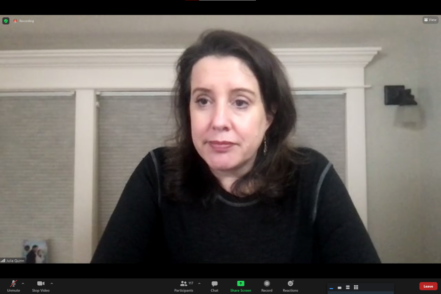 Julia Quinn gives presentation to students over Zoom