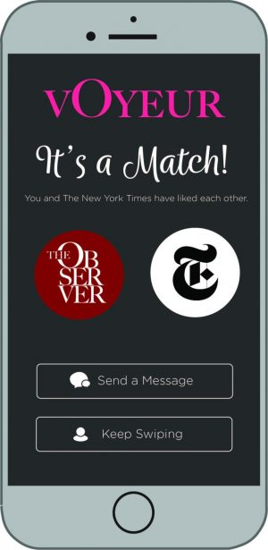 graphic illustration of The Observer getting a match with The New York Times on Voyeur, The Observer's own dating app for newspapers