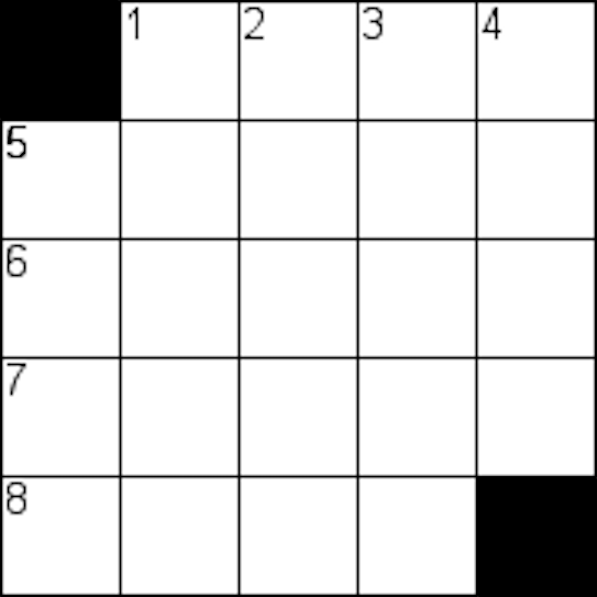 blank 5 by 5 crossword grid