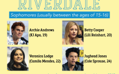 A graphic showing actors, all in their 20s, who played high school aged characters in Riverdale.