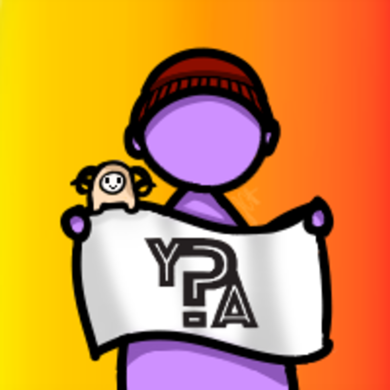 graphic of the peer health exchange instagram icon, with a person in a red beanie holding a white sign that says YPA