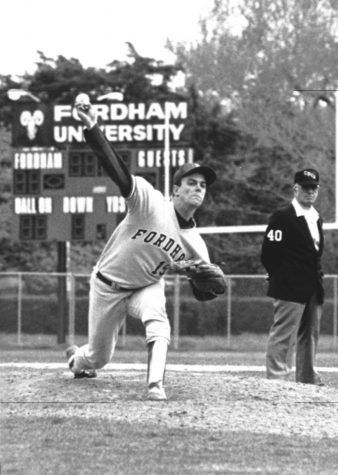 Pete Harnisch pitches while at Fordham in a black and white photo