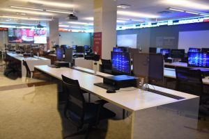 A photo of a Gabelli School of Business classroom.