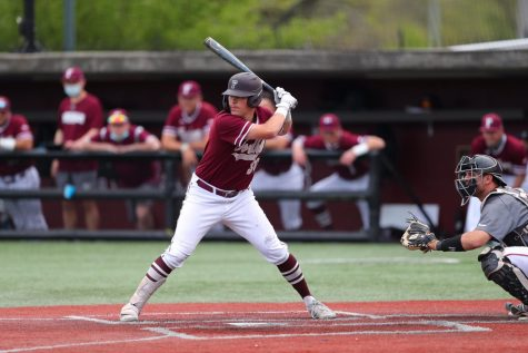 Jack Harnisch pitches at a Fordham baseball game