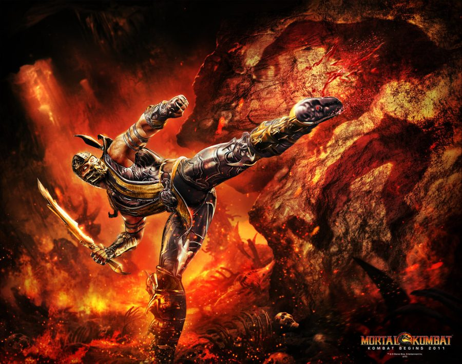 A graphic image of a video game character from Mortal Kombat in a kicking pose.