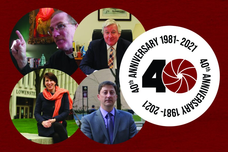 For an article on the LC newspaper, fordham administrators in a graphic with a 40th anniversary sticker